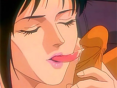 Black haired anime beauty swallows a big cock and moans when it pounds her deep