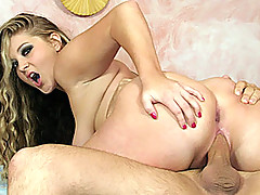 Bailey oils herself down and spreads her pussy lips wide apart before she takes a dildo straight to her asshole.  She gets herself ready for it by fingering herself and then giving Andrew head.  She bobs her mouth up and down his cock and then rides him.