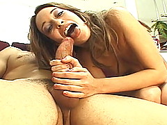 Thin and tanned brunette Corina Taylor strips out of her pink lingerie, talking dirty to the camera about wanting her cherry busted.  She fondles her small pert tits and turns to show off her nice ass.  She kneels down to suck on a hard cock, licking Phil