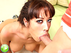 Brunette slut loves feeling the cock deep down her throat
